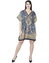 SKAVIJ Kaftan Vestido para Mujer Robe Beach túnica Vestido Cubrir Caftan camisón