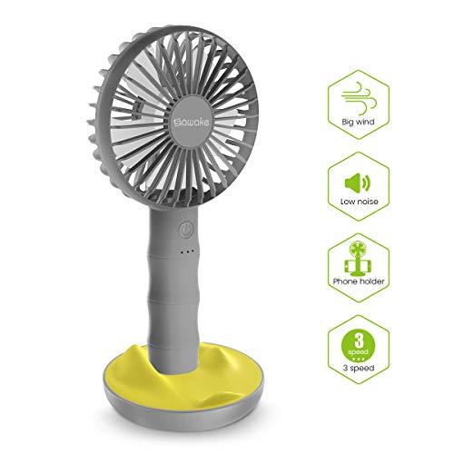 SAWAKE Ventilateur à Main, Ventilateur Portatif USB avec Base, Mini Ventilateur Rechargeable avec 3 Vitesses Réglables, Fan de Table Portable Convient à Bureau, Maison, Voyage, etc