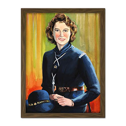 Portrait Princess Elizabeth Windsor Sea Ranger Uniform Painting Artwork Framed Wall Art Print 18X24 Inch Porträt Malerei Wand