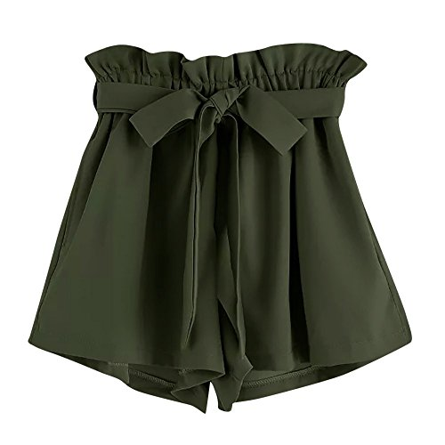 KUDICO Damen Shorts Mode Spitze Yoga Sporthosen Sommerhosen High Waist Kordelzug Kurze Hose mit Taillenband Elegant Hotpants Strandshorts(Grün a, XL) Touch Pro Silikon