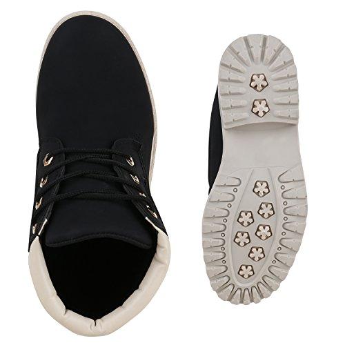 UNISEX Damen Herren Stiefeletten Worker Boots Outdoorschuhe Schnürstiefel Schwarz Black