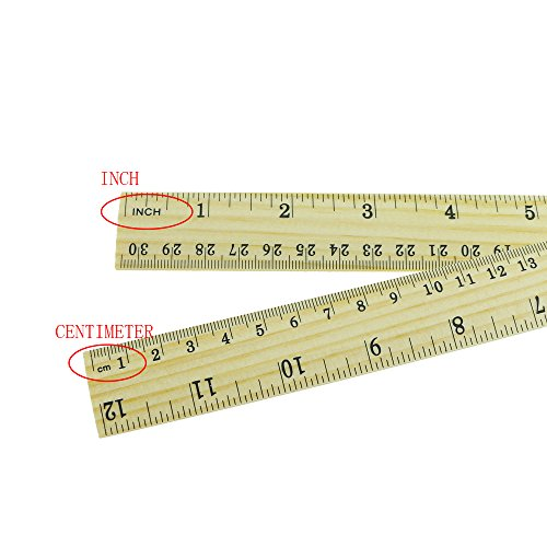 30PCS Amersumer 12inch/30cm + 6inch/15cm Wooden Student Ruler Wooden School Rulers Office Ruler Measuring Ruler Teaching Ruler, 2 Scale,2 Size.