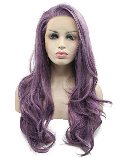 e Wave gerade violett Damen Fashion klebefreien Lace Front Perücken natürlich aussehende Hitze resitstant Haar Seitenscheitel für Frauen (Machen Sie Ein Kostüm In 10 Minuten)