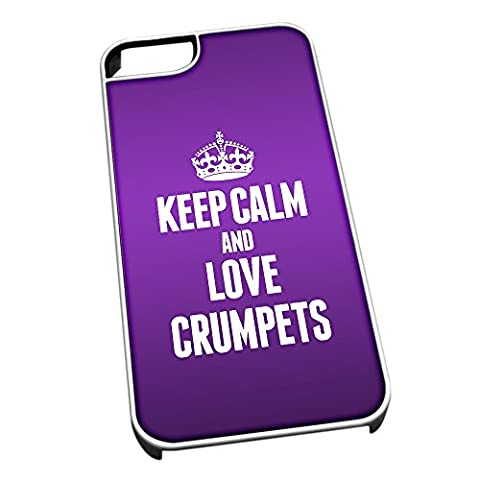 White Cover for iPhone 5/5s 1021 PURPLE Keep Calm and
