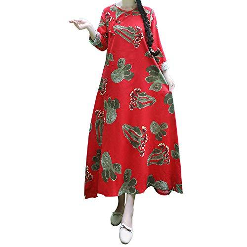 Preisvergleich Produktbild Resplend Frauen Lange Ärmel Maxikleid Mode Drucken Loose Langes Kleid Freizeit Leinen Party Dress