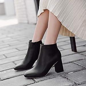 Top Shishang Herbst und Winter einfachen klassischen Platz mit hohen Absätzen Stiefeletten Damen Martin Stiefel Chelsea Stiefel und Stiefeletten