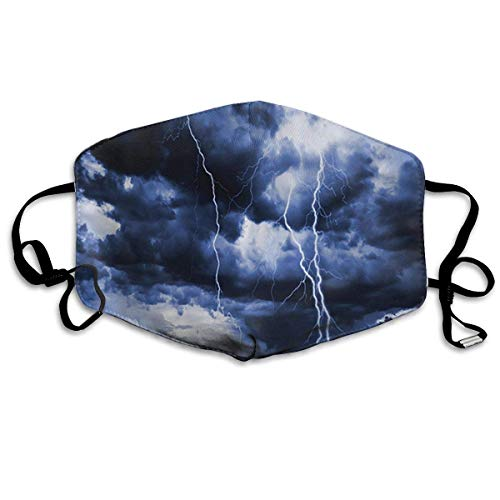 Masken, Masken für Erwachsene, Lake House Majestic Sky View with Huge Rain Clouds All Over The Sea and Vibrant Storm Rays Anti-Dust Cotton Mask,Unisex Face Mouth Mask for Kids Teens Men Women