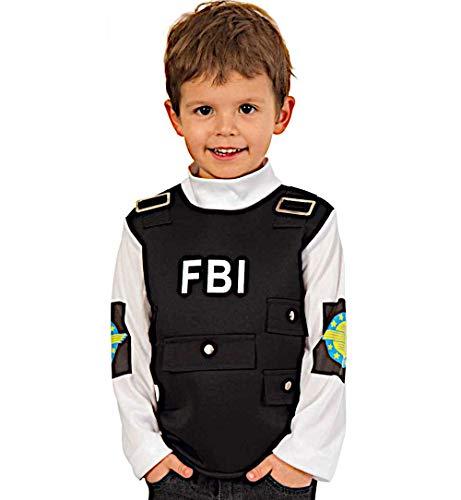KarnevalsTeufel Kinderkostüm Oberteil FBI, Schutzweste, Police-Officer, Bundespolizei Agent, 1-TLG. (116)