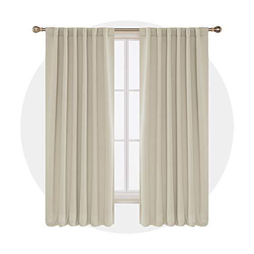 Deconovo Verdunkelungsvorhang Schlaufen Gardinen Wohnzimmern Vorhang Blickdicht Schlaufenschal 175x140 cm Beige 2er Set