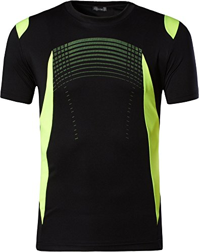 jeansian Uomo Asciugatura Rapida Sportivo Casuale Fashion Men's Sport Tee T-Shirts Tops Running Camicie Tshirt LSL133 LSL194_Black