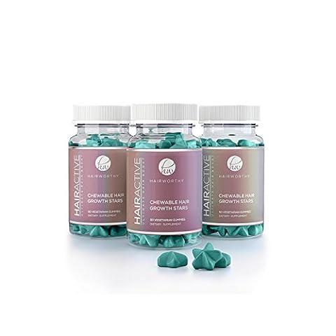 HAIRWORTHY - Chewable SCHNELLSTEN Haarwachstum Vitamine. 100% natürliche Ergänzung für längere, stärkere und vollere Haare. Mit Biotin, Folsäure und Multivitamin. (3 (Glatte Glanz Creme)