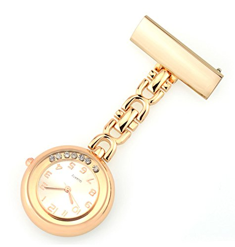 Ellemka JCM-2111 - Elegante Schwesternuhr Clip zum Anstecken FOB Kittel Krankenschwester Pflege-r Quarz Puls-Uhr Taschen Metall Ansteck-Nadel Trend Design Farbe Rosa-Gold mit beweglichen Kristallen