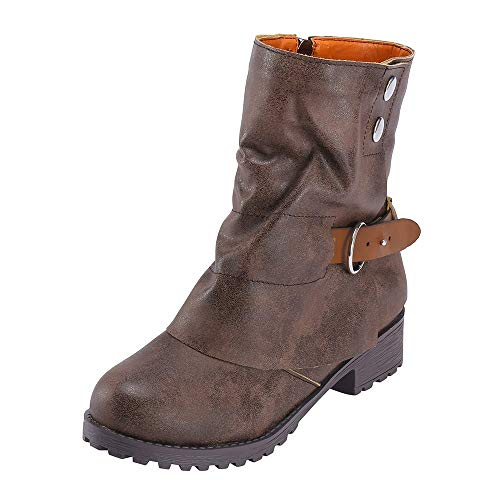 (Winterstiefel Damen,Mosstars Stiefel Mode warme Kurze Leder Stiefel Frauen Schnalle Kunstleder Patchwork Schuhe Lässiges Quadrat mit niedrigen Absätzen und Damenstiefeln)