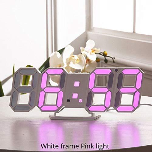 FEI Orologio da Parete a LED 3D Design Moderno Orologio da Tavolo Digitale Sveglia Nightlight Saat Reloj De Pared Orologio per la Decorazione del Soggiorno (Colore : Rosa)