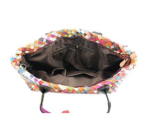 Moonsister Mode Damen Echts Leder Umhängetasche, Große Kapazität Weberei Schultertasche Tasche Käufer Handtasche, Schwarz Mehrfarbig