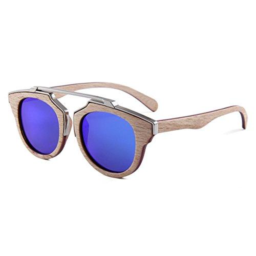 LX-LSX Sonnenbrille polarisierte natürliches Holz-Metallzwischengeschoss-hölzerner Retro- runder Rahmen, der UV400 Anti-UVschutzgläser fährt (Farbe : Blue Water Silver Lens)