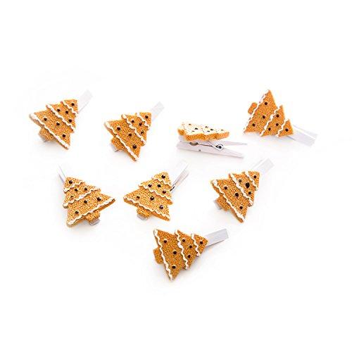 Preisvergleich Produktbild 8 Stück kleine orange braun weiße Deko-Klammern (4,5 cm) mit WEIHNACHTSBAUM CHRISTBAUM Lebkuchen-Art Deko-Klammern Holz-Klammern Mini-Klammern Weihnachtsklammern Wäscheklammern