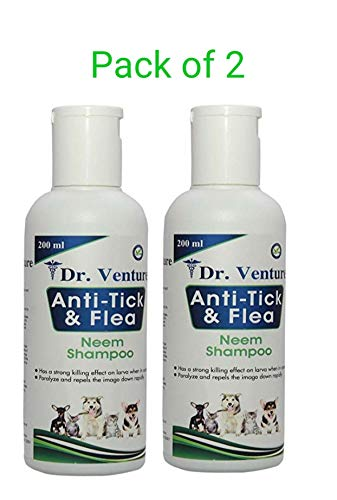 Dr Venture Dog Shampoo and Cat Shampoo Anti Tick & Flea | Organic Natural Neem & Lemongrass ● Anti Itching, Insect Repellent ●Pack of 2 (200 ml) - Two Month Supply