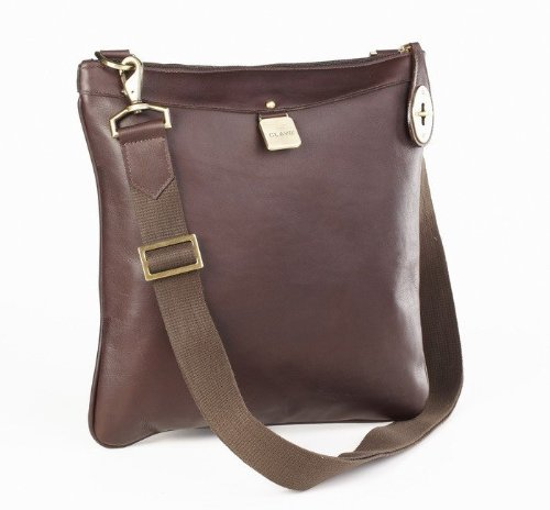 Clava 713Cafe Leather Turnlock Cross Body - Cafe