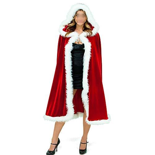 Wanlianer Weihnachtsmann-Kostüm Frauen Weihnachten Red Cloak Hooded Cape Erwachsenen Phantasie Cosplay Kostüm Weihnachtsfest Kostüm