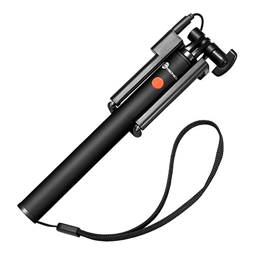 TaoTronics Palo Selfie Universal Portátil Con Un Solo Botón Sin alimentación Ni Batería Para Smartphones iOS e Android, Jack de 3.5mm Color Negro