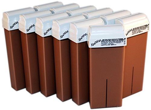 epilwax-sas-lot-de-12-roll-on-de-cire-jetable-aux-chocolat-pour-epilation-avec-roulette-grand-modele