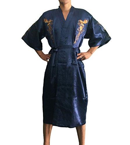 JTC Homme Vêtement de Nuit Peignoir Kimono Robe de Nuit/Bain Pyjama de Chambre en Satin, Multicolore - Noir foncé, une taille