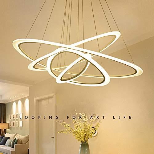 Hlidpu Moderne Zeitgenössische LED Pendelleuchte Kronleuchter 3-Ring Hängende Deckenbeleuchtung Dimmbare Runde Pendelleuchte Wohnzimmer,1200+1000+740+520+340mm - Zeitgenössischen, Modernen Kronleuchter
