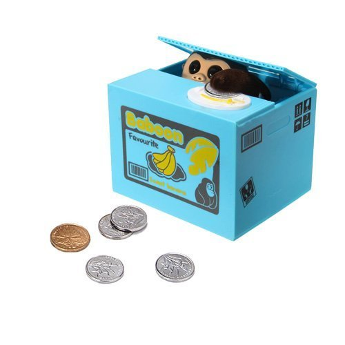 GOODLQ Mischief Saving Box, Adorable Cute Hiding Monkey Coin Stealing Money Piggy Bank Cents Penny Great Christmas/Birthday Toy Gift Kids (AFFE)