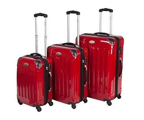 3-teiliges Trolley-Set mit 360°-Leichtlaufrollen, Hartschale aus Polycarbonat - in vielen Farben erhältlich (Rot)