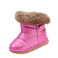 uirend Shoes Children Snow Boots - Kids Girls Winter Warm Boot Fur Lined Toddler PU Leather Waterproof