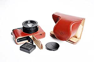 Handmade Genuine real Leather Full Camera Case bag cover for Panasonic LX100 Bottom opening Version Brown color
