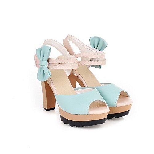 VogueZone009 Donna Velcro Tacco Alto Luccichio Colore Assortito Heeled-Sandals Azzurro