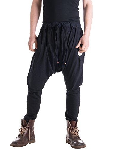 Vishes - Alternative Bekleidung - Leichte Herren Haremshose aus Baumwolle mit mittlerem Schritt und Tunnelzug schwarz Einheitsgröße (Larpers Kostüm)