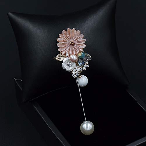 Pink Shell Blume Revers Stick Kragen Kristall Perle Brosche Pin Anzug Tuxedo Corsage Hochzeit Anstecker Partei Frauen Geschenk 9 cm - Tuxedo Pink