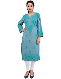 BDS Chikan Khadi Cotton Green Colour Lucknow Chikankari kurti For Woman - BDS00856