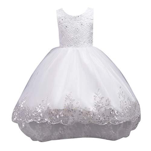 Livoral Madchen Geschenke 4 Jahre Kind Mädchen ärmellos Floral Bestickt Bogen Tüll Prinzessin Kleid Kleidung(Weiß,110)