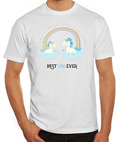 Einhorn Vatertag Herren T-Shirt mit Unicorn Best Dad Ever Motiv von ShirtStreet Weiß