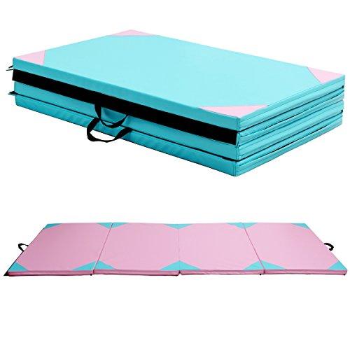 COSTWAY Weichbodenmatte Gymnastikmatte Yogamatte Turnmatte Klappmatte Fitnessmatte 300x120x5cm klappbar tragbar (Rosa)
