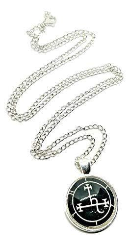 Eclectic Shop Uk Lilith Demon Sigil Anhänger Luciferian Satanische Occultist Aleister Crowley Silberfarben Amulett Talisman Statement Halskette