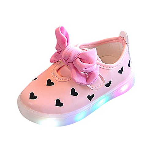 VENMO Kleinkind LED Sandalen Kinder Bowknot Kinder Baby Herz Schuhe LED leuchten leuchtende Turnschuhe LED Schuhe Kids Light shoes Junge Girls blinken Sport Running Sneaker Baby shoes (Pink, 23) (Sneakers Girls Kleinkind)