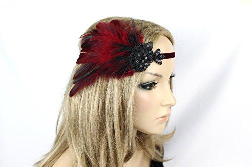 Haarschmuck Haarband Vintage 20er Jahre Flapper Stirnband Federn -