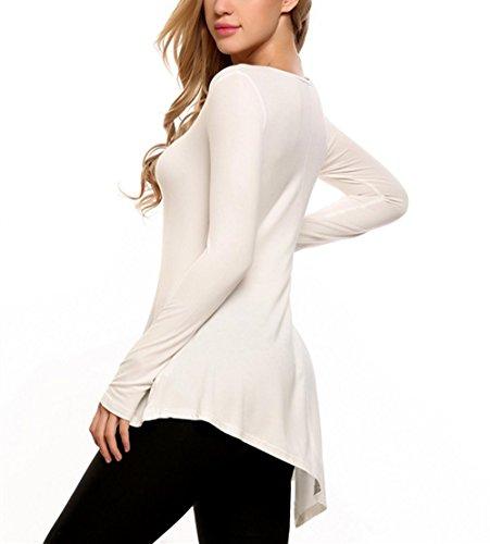 Damen Sweatshirt Pagacat Damen Langarm Kreuz Hals Casual Asymmetrische Hem Flowy Tunika Top Weiß
