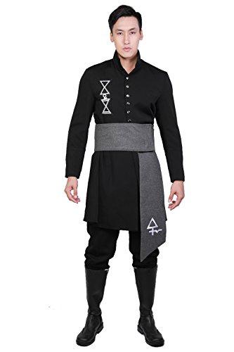 Halloween Kostüm Rock Roll Band Cosplay Uniform Deluxe Schwarz Terylen Outfit für Erwachsene Verrücktes Kleid ()