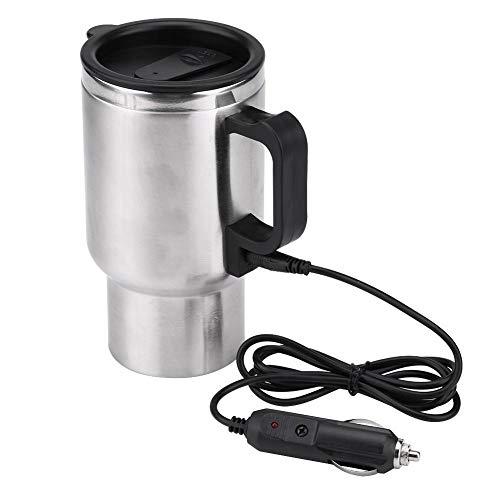 Fydun Taza de la calefacción del Coche 450ml Acero Inoxidable Hervidor eléctrico de coche Hervidor de viaje Taza de café DC 12V