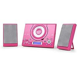 auna MC-120 - Chaîne stéréo, Microchaîne, Chaîne compacte, Radio FM, Lecteur CD, MP3, Connexion USB, 30 Stations enregistrables, Affichage LCD, Navigation par Dossier, Réveil, Rose