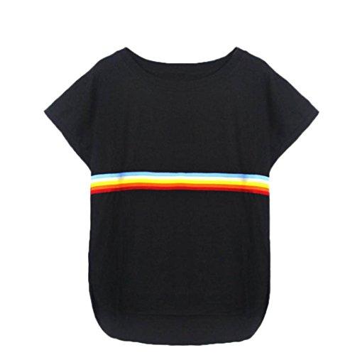 ESAILQ Tops Women Short Sleeve O Neck Rainbow Patchwork Casual T-Shirt Blouse Shorts Rainbow Print Sport Elastic Short Pants Beach Skinny Yoga Gym
