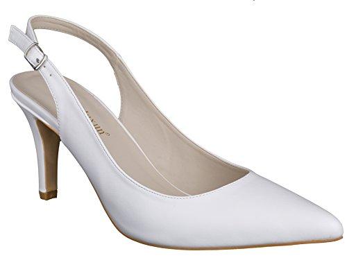 Maxmuxun donna chiuse scarpe col tacco da sposa bianco dimensione 36eu