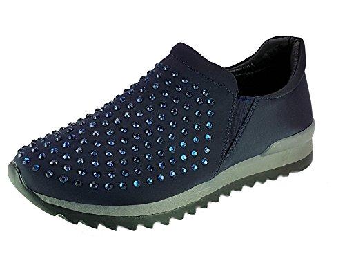 Fortuna Shoes Scarpe da Passeggio Donna Ragazza Moda Comoda New Tacco Basso Blu