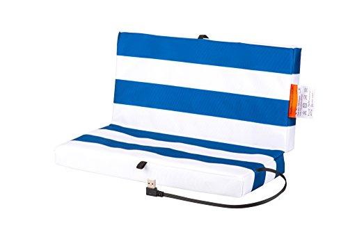 Faltbares Stadion Heizkissen USB Powerbank: Elektrisches Sitzkissen für kalte Jahreszeiten - Wasserabweisendes und schmutzresistentes Stadionkissen - Warmes Outdoor Klappkissen - Blau/Weiß